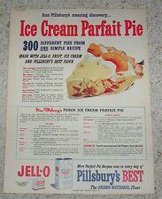 1952 print ad page -Pillsbury Peach Ice Cream Jell-o parfait pie dessert recipe