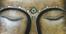 Holy Buddha Oil Painting 40x16.NOT a poster,framing available. Buddhist,  Monk