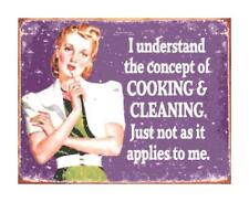 Cooking & Cleaning Funny Retro Sign DIGITAL Counted Cross Stitch Pattern Chart