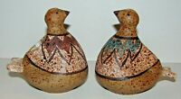 Mid Century Modern Pair Signed KAMINI Studio Pottery Bird Figures Vases