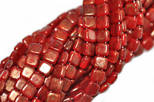 50 Oxblood Gold Marbled 2 Hole Czech Glass Flat Square Beads 6MM