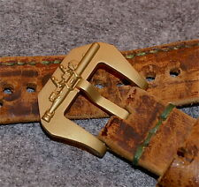 Torpedo cierro Buckle 26mm pura bronce F. de cuero vintage Straps relojes pulseras