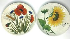 Decorative Wall Plate Poppies/Sun Flower Italy Hand-Painted Stoneware