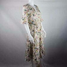 Unbranded Floral Summer Dress in White Mid Calf Length One Size Short Sleeve