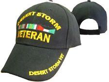 Desert Storm Veteran Vet Letters on Bill Ribbon Black Embroidered Cap Hat 783A