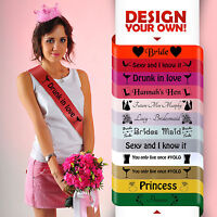 HEN PARTY SASHES PERSONALISED HOT PINK SASH NIGHT OUT DO BRIDE TO BE ACCESSORY*