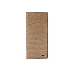 a.Testoni Bologna Tan Document Holder Wallet Genuine Ultra-soft Crocodile