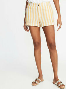 """Old Navy Linen Blend Yellow Stripe 3.5"""" Shorts  NWT"""