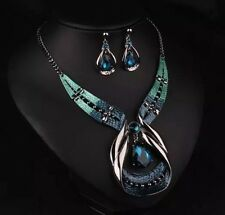 NECKLACE AND EARRING SET GORGEOUS BLUE/TURQUOISE