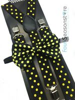 Black w/ Yellow Dot Bow Tie And Suspender Matching Set Tuxedo Wedding Party
