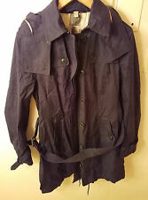 Burberry Brit Hooded Belted Black Cotton Trench Coat Womens Size L MSRP $1295