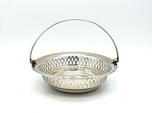 Antique Edwardian silver plated bon bon dish with handle. Very good condition.