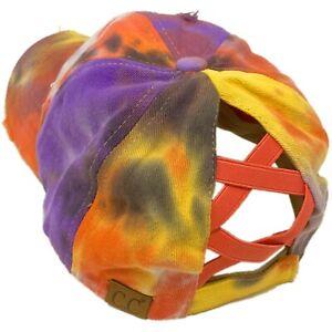 C.C Ponytail Criss Cross Messy Buns Ponycaps Baseball Cap Hat Tie Dye Coral