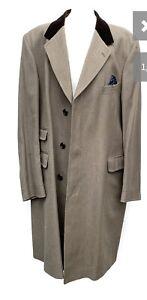 "Grenfell Wool Covert Coat With Brown Belvet Collar 46"" Chest"