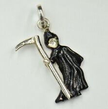 Grim Reaper Black Enamel Sterling Silver Charm 925 Scythe in Hand Pendant Vtg