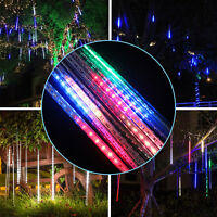 8 Tube Solar LED Meteor Shower Lights Falling Rain Drop Lamp Icicle Tree String
