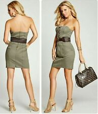 Guess Women's Strapless Belted Military Twill Dress Sz 4