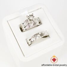 2.00 Ct Diamond Engagement Ring Wedding Trio Set For His Her White Gold Over