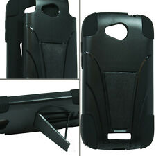AT&T HTC ONE VX Advanced HYBRID KICK STAND Rubber Case Phone Cover Black Black