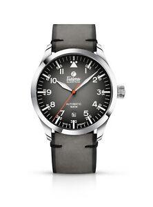 Tutima Glashütte Armbanduhr Flieger Automatik Lederband 6105-31