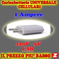 SPINA UNIVERSALE ADATTATORE 220V USB CARICATORE CARICABATTERIE CELLULARI MP3 wru