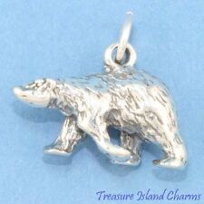 POLAR BEAR DETAILED 3D .925 Solid Sterling Silver Charm MADE IN USA
