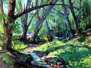 Vintage Creek through woods 2 by Wm Brigl 1950s print