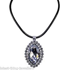 Silver Crystal Statement Necklace Large Clear Marquise Glass Pendant Design