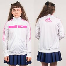 ADIDAS TRACKSUIT JACKET TOP WOMENS Y2K 90'S RETRO WHITE & PINK ZIP FASTEN 8 10