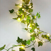 2/10M Leaves Ivy Leaf Garland Fairy String Lights Party Garden Decor Lamp