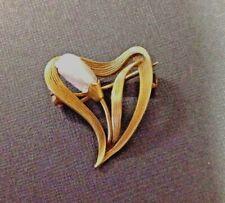 Pin 1900 Cattail Grass Heart Brooch 14K Yellow Gold Art Nouveau Baroque Pearl