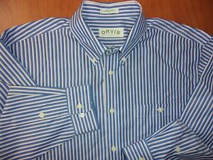 Orvis Wrinkle-Free Cotton Pinpoint Oxford Button Down Sport Shirt XL ~NEW~