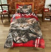 """Rapport """"CUDDLY CATS"""" Red Easy Care Duvet Cover Set S/D/K"""