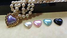 Joan Rivers Double Strand Faux Pearl w/Pearl Pendent Heart Necklace Five Colors