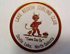 UNIQUE VINTAGE DEVILS LAKE N.D. LAKE REGION CURLING CLUB SPORTS CURLING PIN