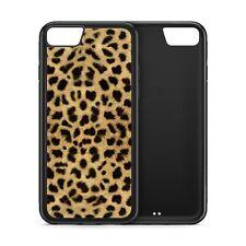 Leopard Skin Print Wild Animal Black Rubber Phone Case
