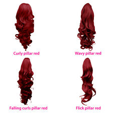 """22"""" Ponytail Clip in Hair Extensions Wavy Pillar Red Reversible 4 Styles"""