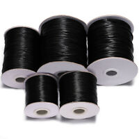 10m/lot 0.5 0.8 1.0 1.5 2mm Black Waxed Cotton Cord Jewelry Making String Thread