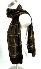 "LAUREN Ralph Lauren Vtg Brown Plaid Check 100% Silk Scarf Wispy 58"" x 11"" *F/S!*"