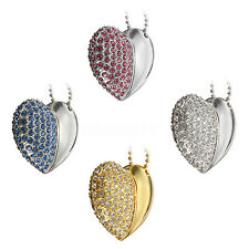 8GB Novelty Crystal Heart Style USB 2.0 Flash Memory Thumb Stick & Chain