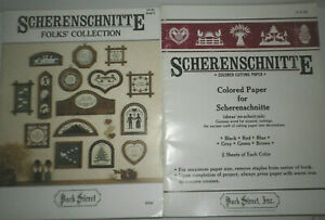 Vtg Scherenschnitte Folks Collection Book 5 and Cutting Paper 2 Softcover Books