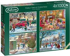 Jumbo 11269 Falcon de Luxe-Family Time at Christmas 4x1000 Piece Jigsaw Puzzles