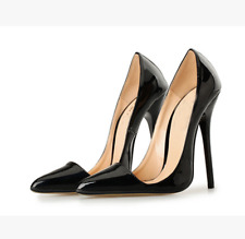UK Womens Pointed Toe Patent Leather Stilettos Sexy Shoes Heels Pumps Plus Size