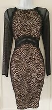 Womens Lipsy Michelle Keegan Black Nude  Lace Netted Stretch Evening Dress 10.