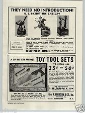 1947 PAPER AD Hit & Miss Boxing Bronco Bill Finger Push Puppet Barkng Dog Kohner