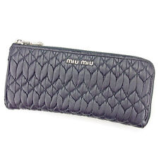 miumiu Wallet Purse Materasse Black Silver Woman Authentic Used A1376