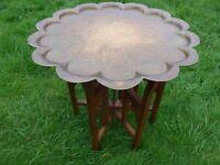 Vintage Islamic Persian Ottoman Brass Tray Side Table Wooden Folding Legs 60 cm