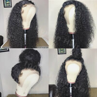 100 Brazilian Curly Human Hair Wigs Glueless Full Lace Front Wig Black Baby Hair