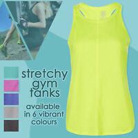 Ladies Gym Sport Tanks Active Vest Fitness Running Yoga Stretchy Racer Back S-L