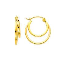 14K Yellow Gold 4mm Thickness Double Elegant Hoop Earrings